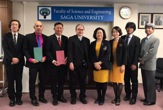 The delegation are working at Saga University