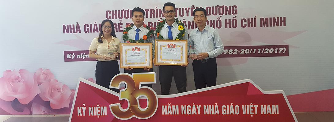 Chúc mừng hai cán bộ trẻ đã đạt danh hiệu Nhà giáo trẻ tiêu biểu cấp Thành năm 2017